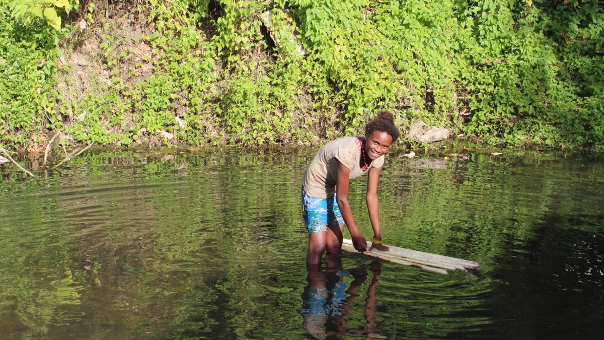 Villager in Guadalcanal, Solomon Islands, assignment for Asian Development Bank
