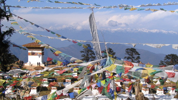 Prayer flags in Thimphu, Bhutan, assignment for UNICEF